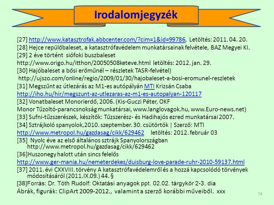 Irodalomjegyzék [27] http://www.katasztrofak.abbcenter.com/ cim=1&id=99786, Letöltés: 2011. 04. 20.
